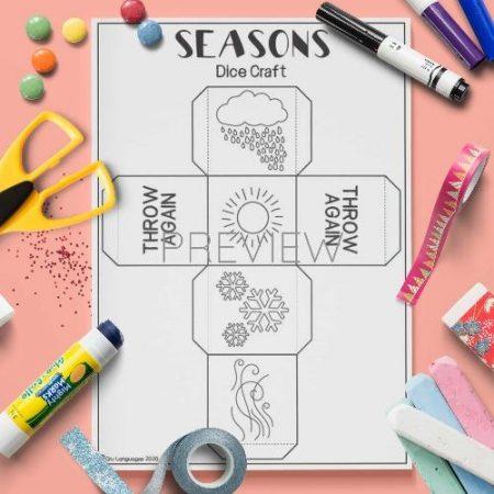 ESL English Seasons Dice Craft Activity Worksheet