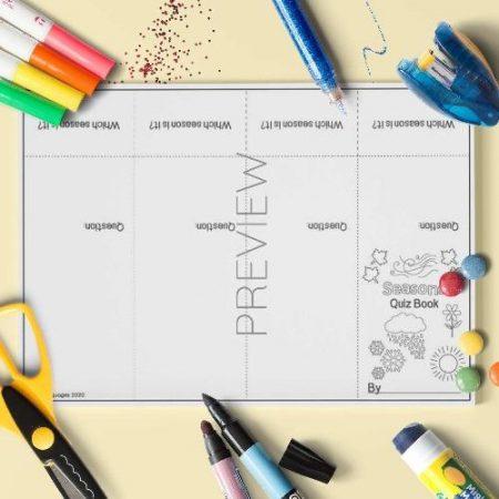 ESL English Seasons Quiz Book Craft Activity Worksheet