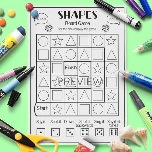 ESL English Shapes Board Game Activity Worksheet