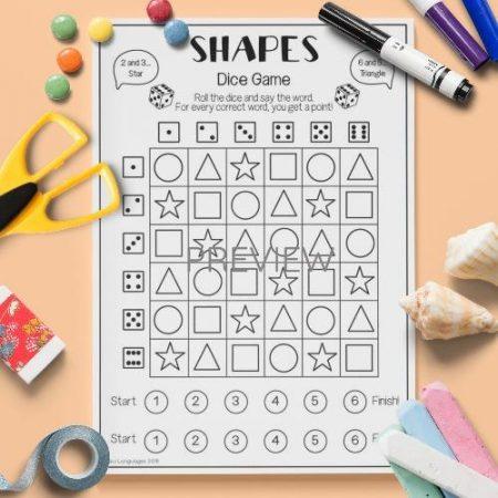 ESL English Shapes Dice Game Activity Worksheet