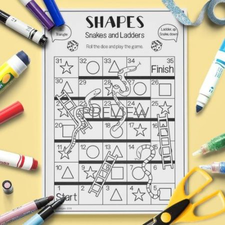 ESL English Shapes Snakes And Ladders Game Activity Worksheet