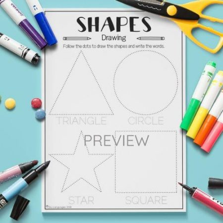 ESL English Shapes Drawing Activity Worksheet
