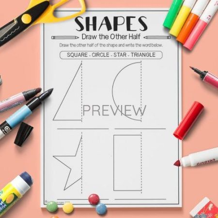 ESL English Shapes Draw The Other Half Activity Worksheet