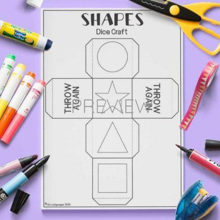 ESL English Shapes Dice Craft Activity Worksheet