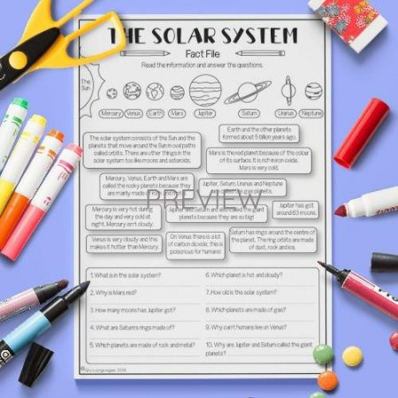 ESL English Solar System Fact File Activity Worksheet