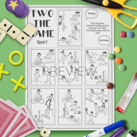 ESL English  Sport Two The Same Card Game Activity Worksheet