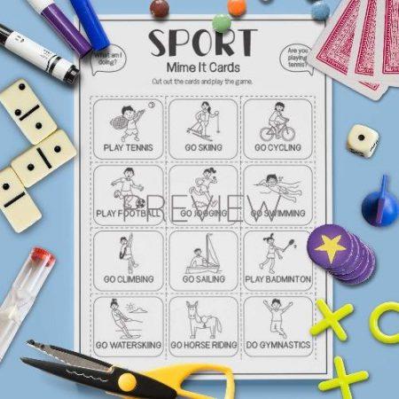 ESL English Sport Mime It Card Game Activity Worksheet