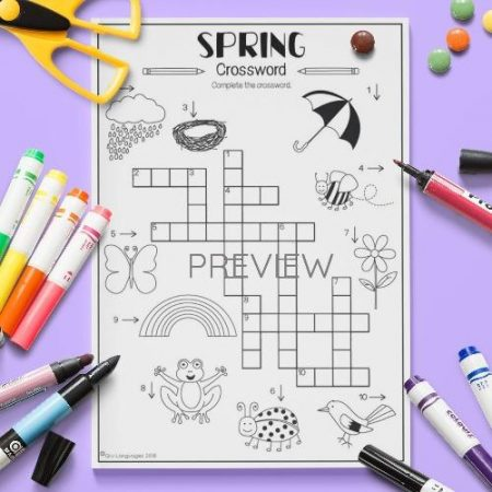 ESL English Spring Crossword Activity Worksheet