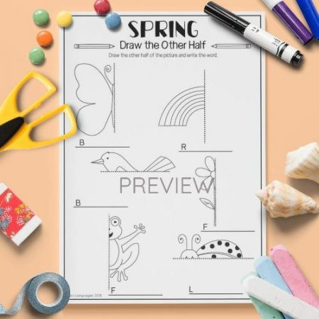 ESL English Spring Draw The Other Half Activity Worksheet