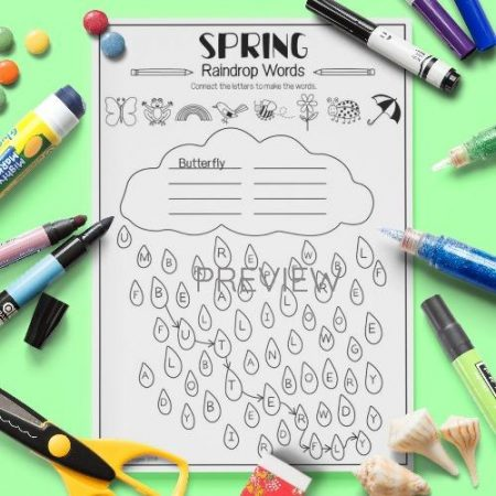ESL English Spring Raindrop Words Activity Worksheet