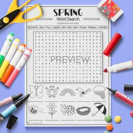 ESL English Spring Word Search Activity Worksheet