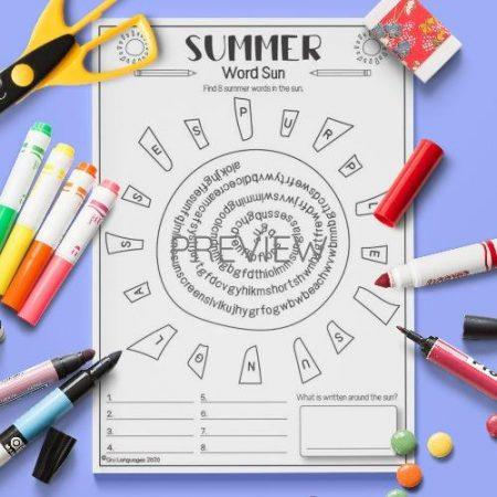 ESL English Summer Word Search Activity Worksheet