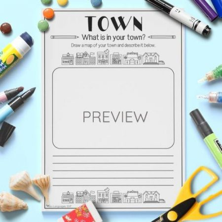 ESL English  Town Draw And Write Activity Worksheet