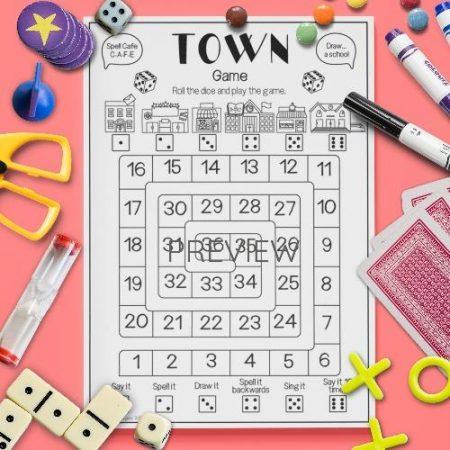 ESL English Town Board Game Activity Worksheet