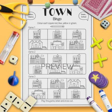ESL English Town Bingo Game Activity Worksheet