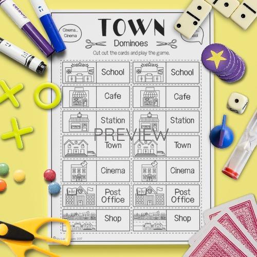 ESL English Town Dominoes Game Activity Worksheet