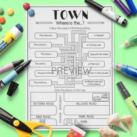 ESL English Town Puzzle Activity Worksheet
