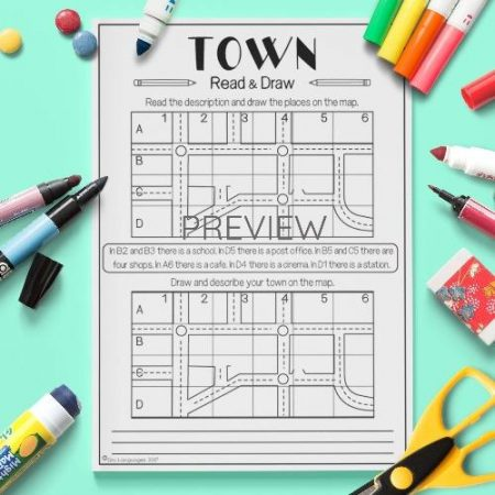 ESL English Town Read And Draw Activity Worksheet