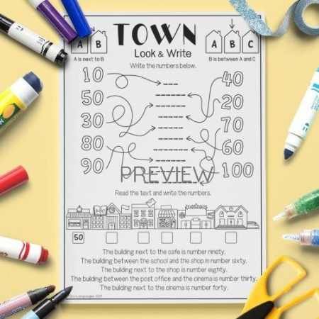 ESL English Town Look And Write Activity Worksheet