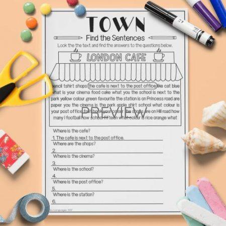 ESL English Town Find The Sentences Activity Worksheet