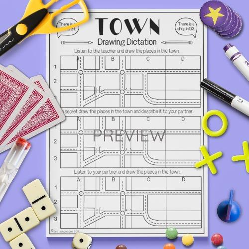 ESL English Town Drawing Dictation Game Activity Worksheet