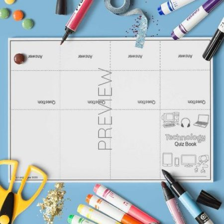 ESL English Technology Quiz Book Craft Activity Worksheet