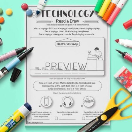 ESL English Technology Read And Draw Activity Worksheet