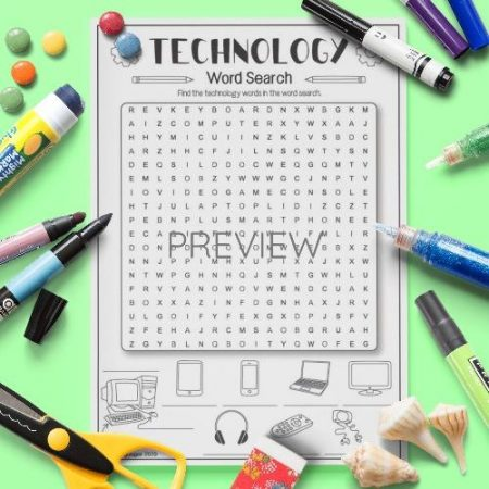 ESL English Technology Word Search Activity Worksheet