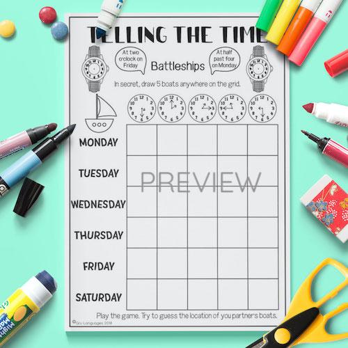 ESL English Telling The Time Battleships Game Activity Worksheet
