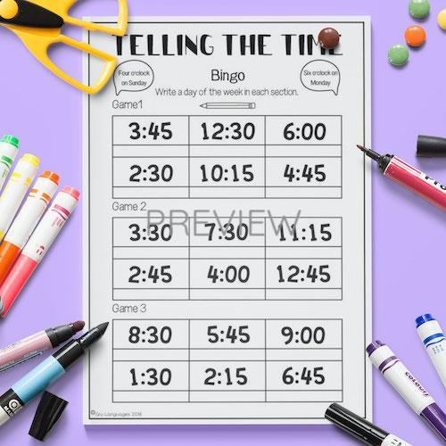 ESL English Telling The Time Bingo Game Activity Worksheet