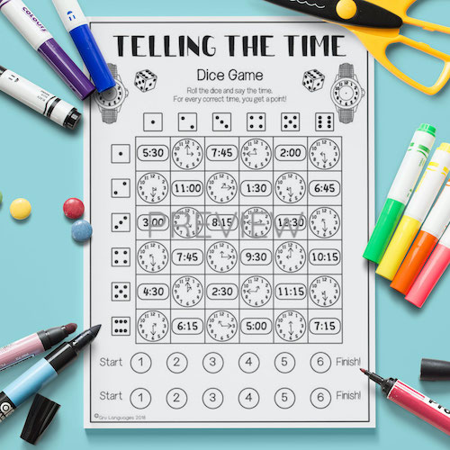 ESL English Telling The Time Dice Game Activity Worksheet