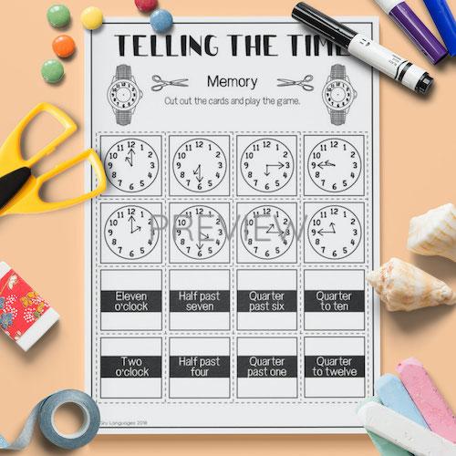 ESL English Telling The Time Memory Game Activity Worksheet