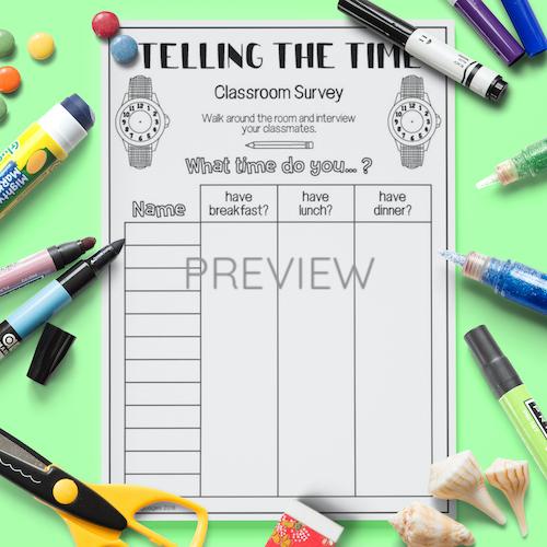 ESL English Telling The Time Classroom Survey Activity Worksheet