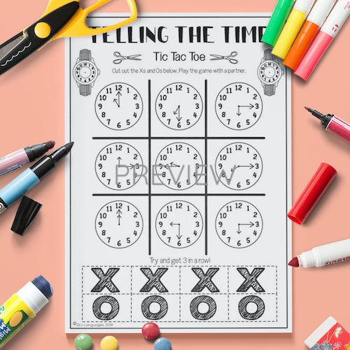 ESL English Telling The Time Tic Tac Toc Game Activity Worksheet