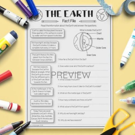 ESL English The Earth Fact File Activity Worksheet