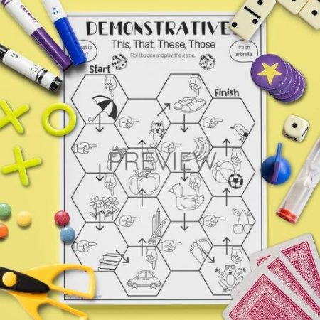 ESL English This That Board Game Activity Worksheet
