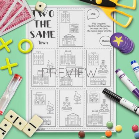 ESL English Town Two The Same Card Game Activity Worksheet