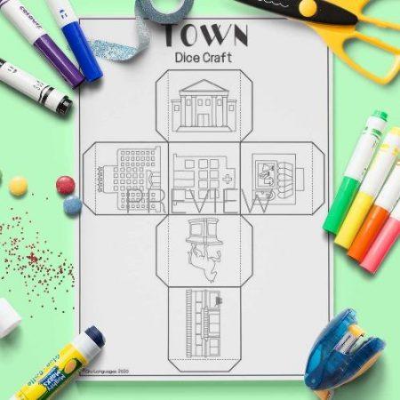 ESL English Town Dice Craft Activity Worksheet