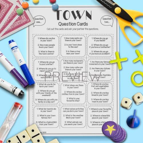 ESL English Town Question Cards Activity Worksheet