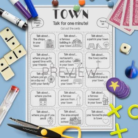 ESL English Town Talk For A Minute Card Game Activity Worksheet