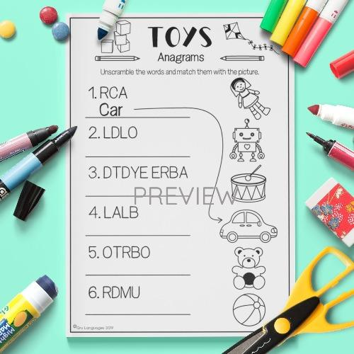 ESL English Toys Anagrams Activity Worksheet