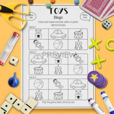 ESL English Toys Bingo Game Activity Worksheet