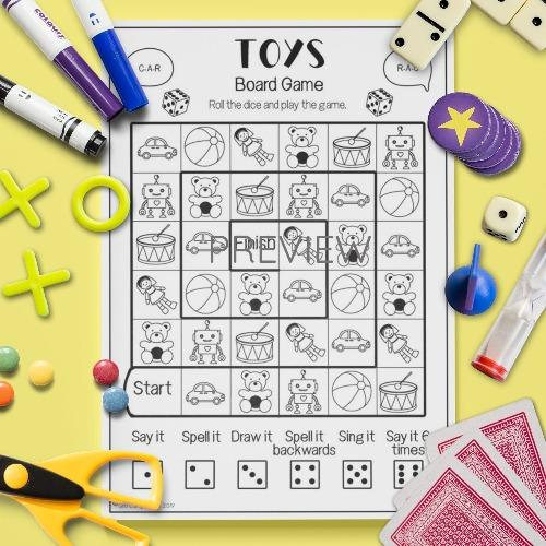 ESL English Toys Board Game Activity Worksheet