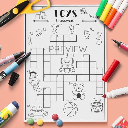 ESL English Toys Crossword Activity Worksheet