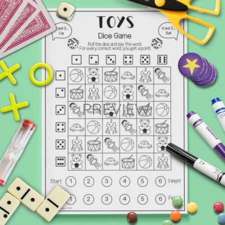 ESL English Toys Dice Game Activity Worksheet