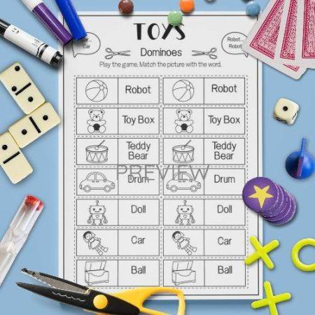 ESL English Toys Dominoes Game Activity Worksheet