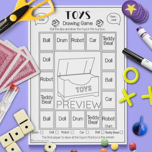 ESL English Toys Drawing Game Activity Worksheet