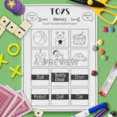 ESL English Toys Memory Game Activity Worksheet