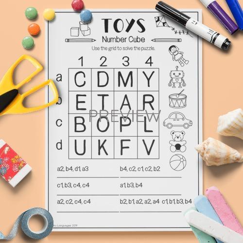 ESL English Toys Number Puzzle Activity Worksheet