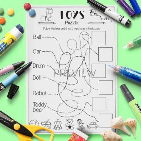 ESL English Toys Puzzle Activity Worksheet